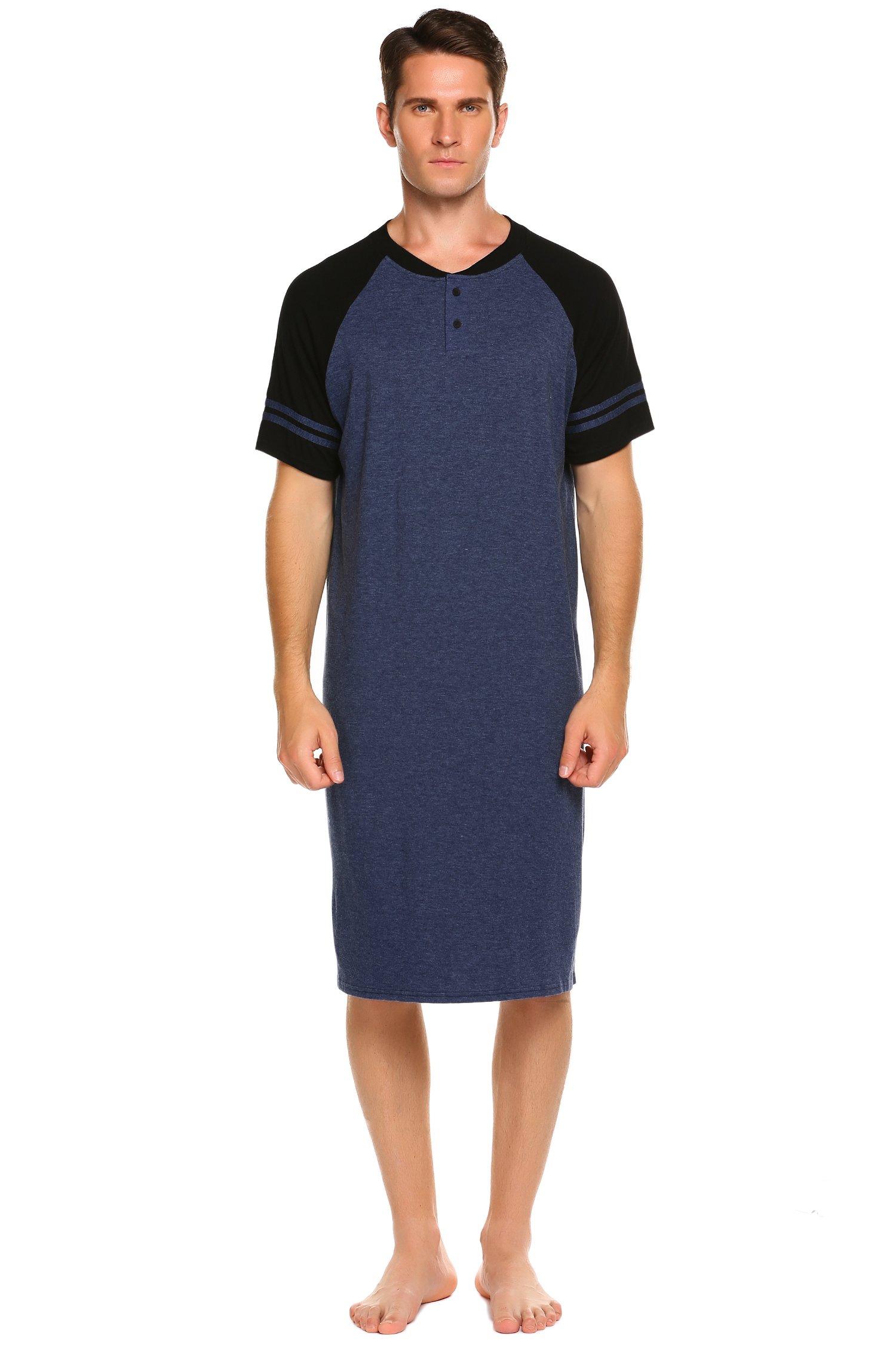 Ekouaer Men's Sleepshirt Lightweight Short Sleeve Night Shirt (Navy Blue, XX-Large)