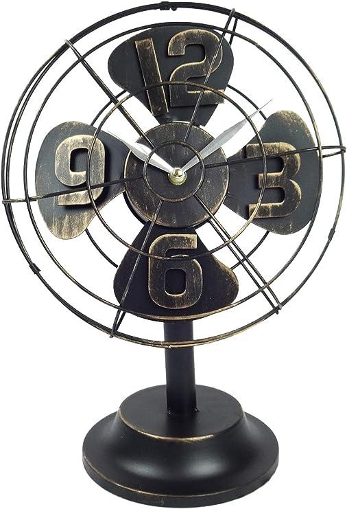 Emartbuy Reloj Ventilador de Mesa de Metal de Estilo Industrial ...