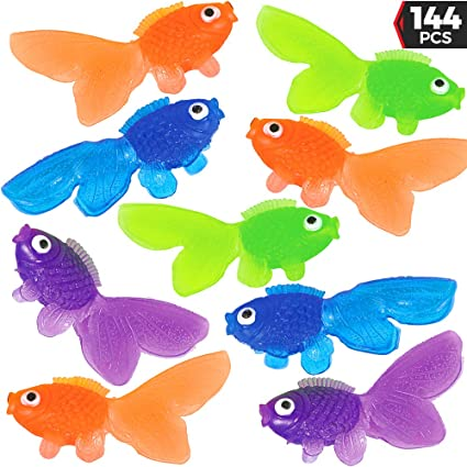 Assorted Vinyl Goldfish (Bulk 144 Pieces) Happy Looking Gold Fish For  Summer Party's, Kids Craft, School Project, Carnival Game, Birthday Table