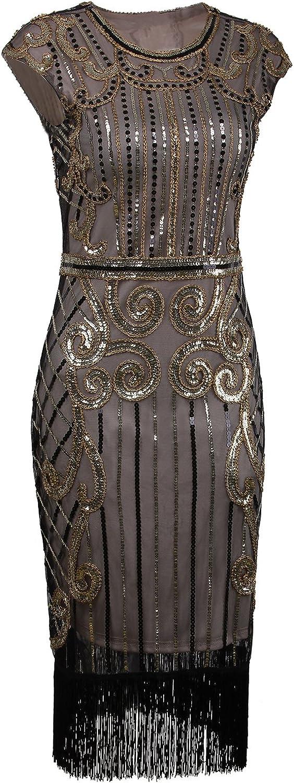 Vintage Cocktail Dresses, Party Dresses VIJIV 1920s Vintage Inspired Sequin Embellished Fringe Long Gatsby Flapper Dress $45.99 AT vintagedancer.com