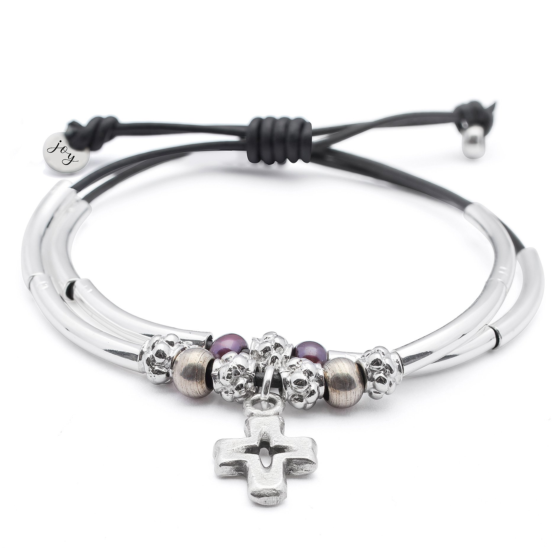 Faith 2 Strand Adjustable Black Leather Silver Plated Charm Bracelet w Silver Cross Charm by Lizzy James