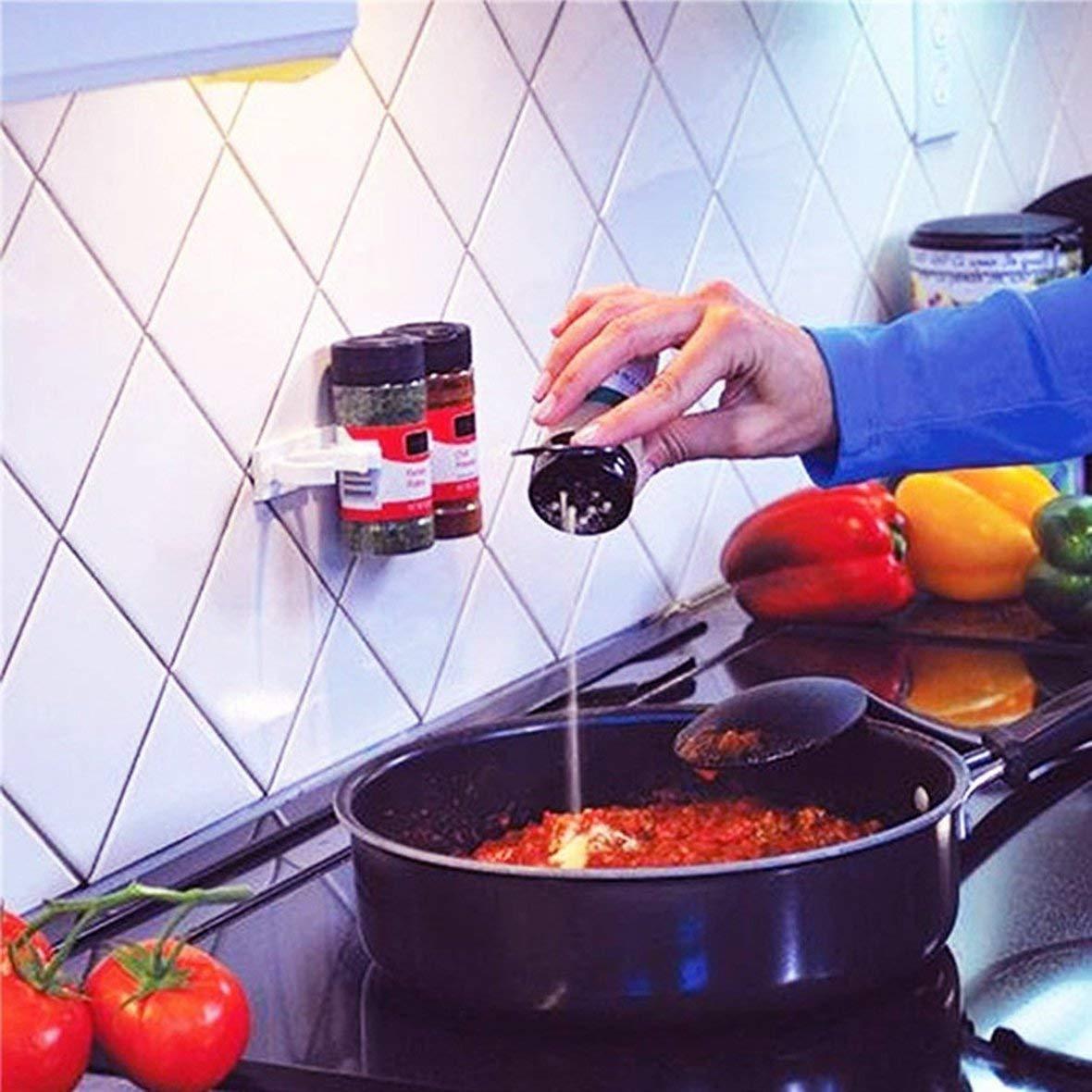 Lesiey Organizzatore della Bottiglia del trasportatore del condimento della Spezia dello scaffale dello scaffale della Cucina dellorganizzatore Leggero della Cucina di Clip N Store Bianco