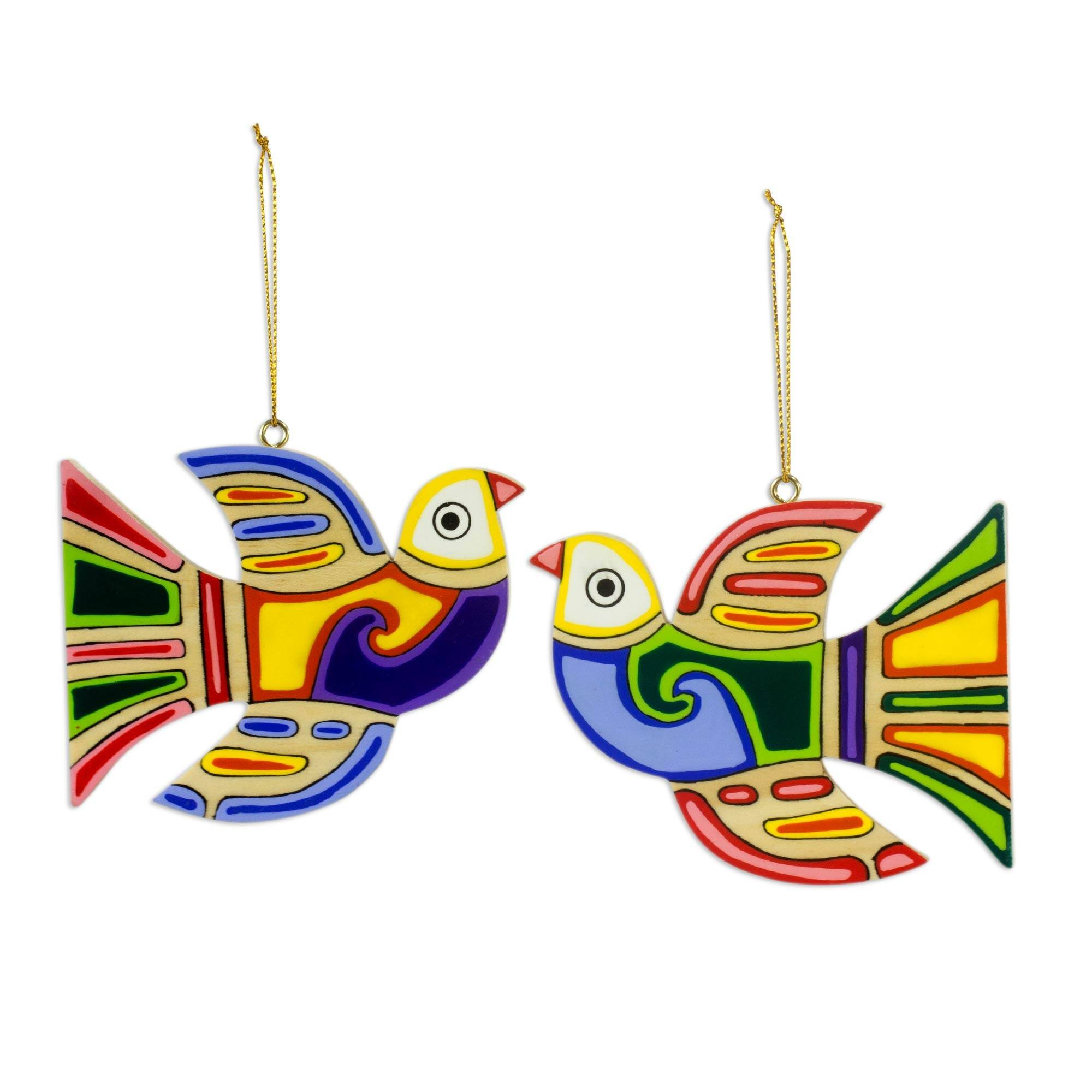 NOVICA Hand Painted Multi-Color Pinewood Christmas Holiday Ornaments, Skybird' (Set of 6), Artisan Made in Central America