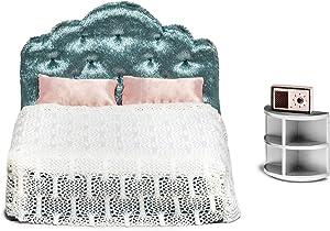 Lundby Dollhouse Bedroom Furniture Set Modern Bed & Bedside Table