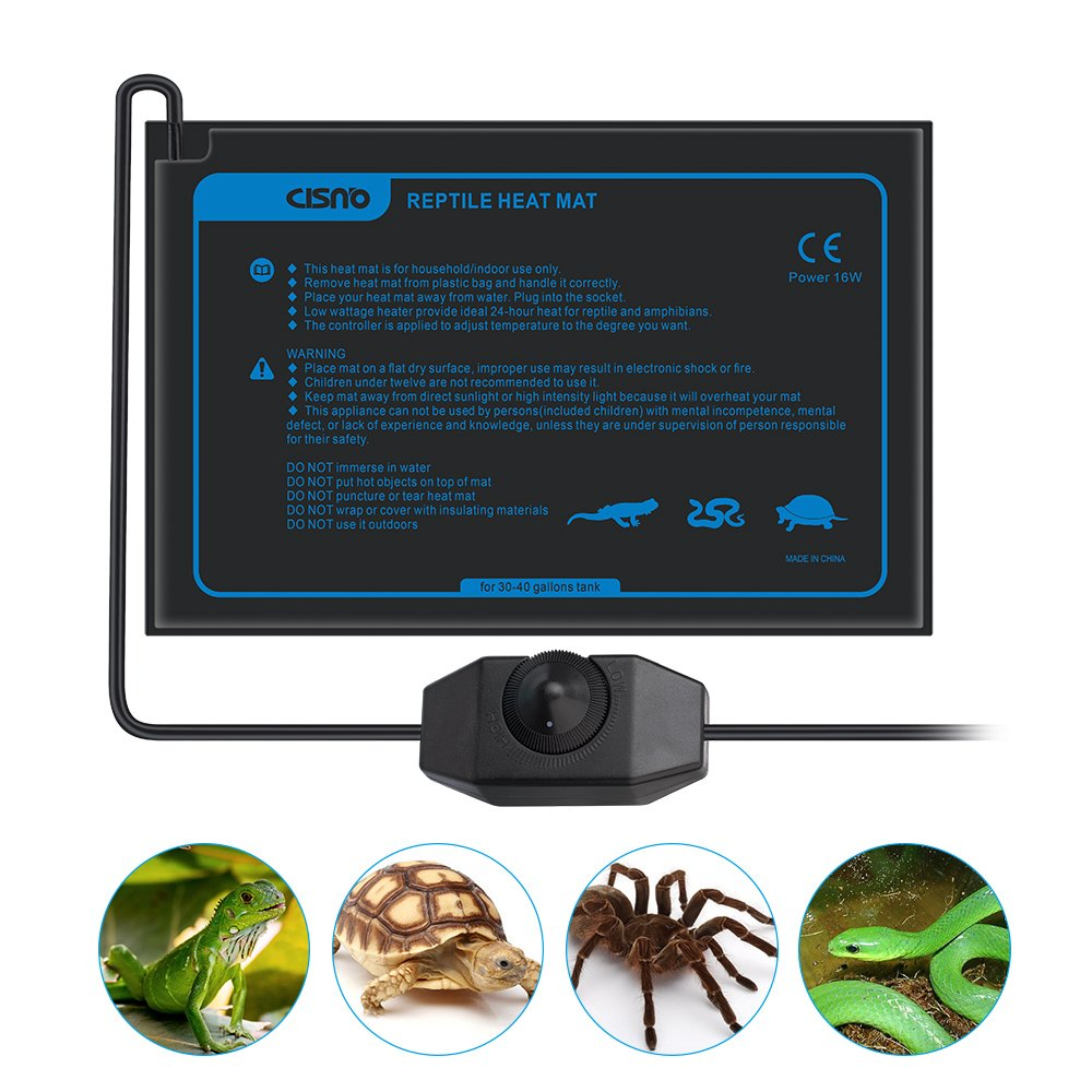 CISNO Under Tank Heater Mat for Reptiles Amphibians with Temperature Controller 30x20CM 16W