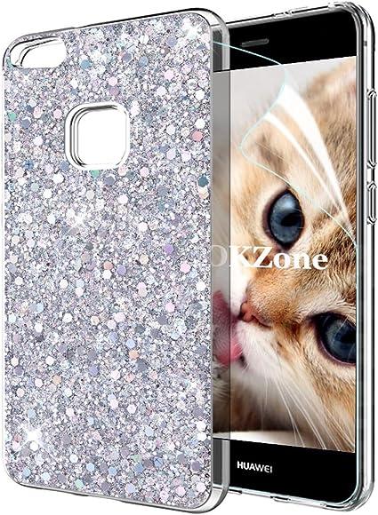 COVER Custodia Glitter Morbida Silicone STRASS Gel per Huawei P10 LITE Blu