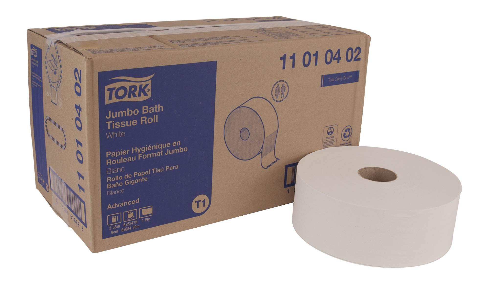 Tork Advanced 11010402 Jumbo Bath Tissue Roll, Perforated, 1-Ply, 10'' Diameter, 3.55'' Width x 7.875'' Length, White (Case of 6 Rolls, 3,424 Sheets per Roll, 20,544 Sheets)