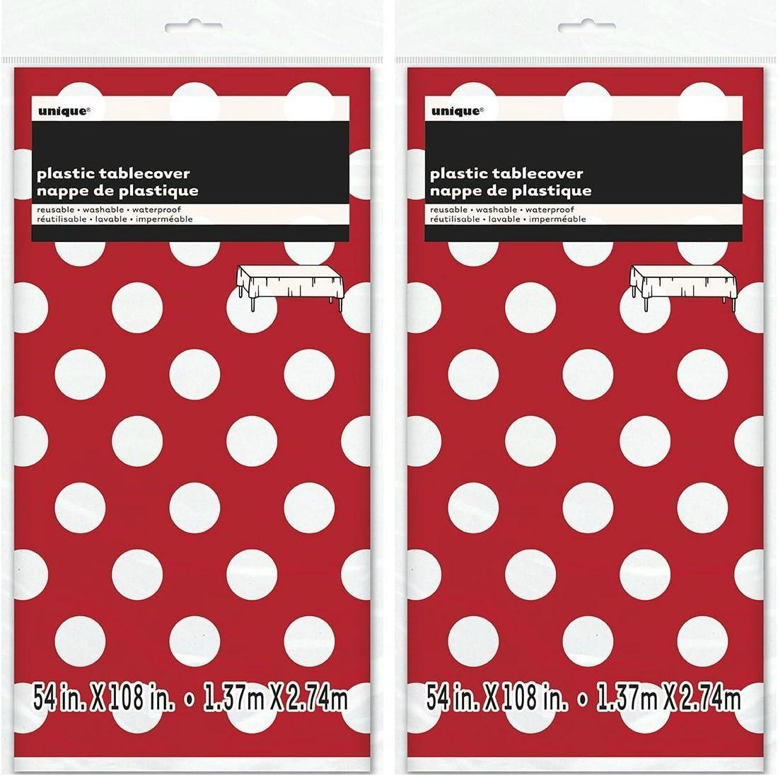 Amazon.com: Mantel de plástico de lunares, 2 unidades, 108 x ...