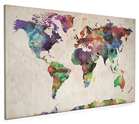 World map urban watercolour canvas art print 22x34 inch a1 749 world map urban watercolour canvas art print 22x34 inch a1 749 gumiabroncs Images