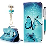S8 Wallet Case, YOKIRIN Premium Soft PU Leather Flip Case in Book Style (& Stylus Touch Screen Pen & Dust Plug) with Kickstand, Credit Card ID Slot Holder, Magnetic Closure Made for Samsung S8, Blue Butterfly