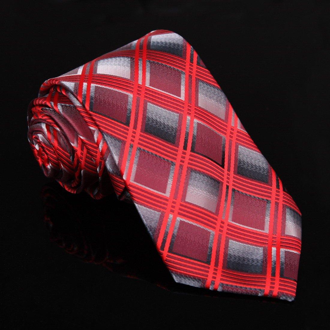 DAA7C10F Purple Orange Red Checkered Microfiber Neck Tie Thank You For Bridegrooms Tie By Dan Smith