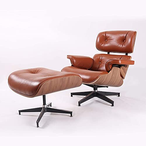 DERCASS Full Genuine Leather Mid Century Style Recliner Lounge Chair Ottoman Set with Moulded Wood Veneers Aluminum Base Support for Living Room tan Leather Walnut