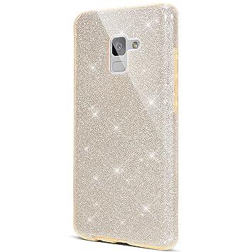 Funda para Samsung Galaxy A8 2018 ,Crystal Glitter Protección TPU Flexible Y Ligero Purpurina Brillante Carcasa Resistente de Gel Silicona con Brillo ...