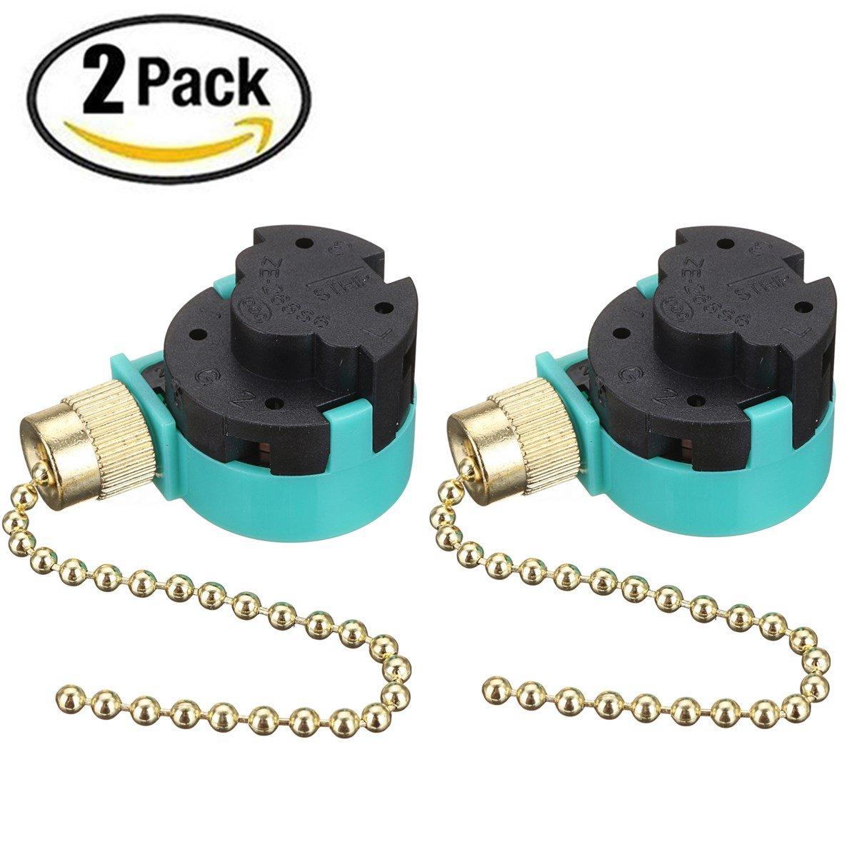2PCS Ceiling Fan Switch Pull Chain Control ZE-268S6 ZE-208S6 3 Speed 4 wire Speed Control Switch Ceailing Fan Replacement Speed Control Switch (Brass)