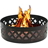 LEMY 37″ Heavy Duty Fire Ring Wilderness Fire Pit Ring Campfire Ring Steel Patio Camping Outdoors