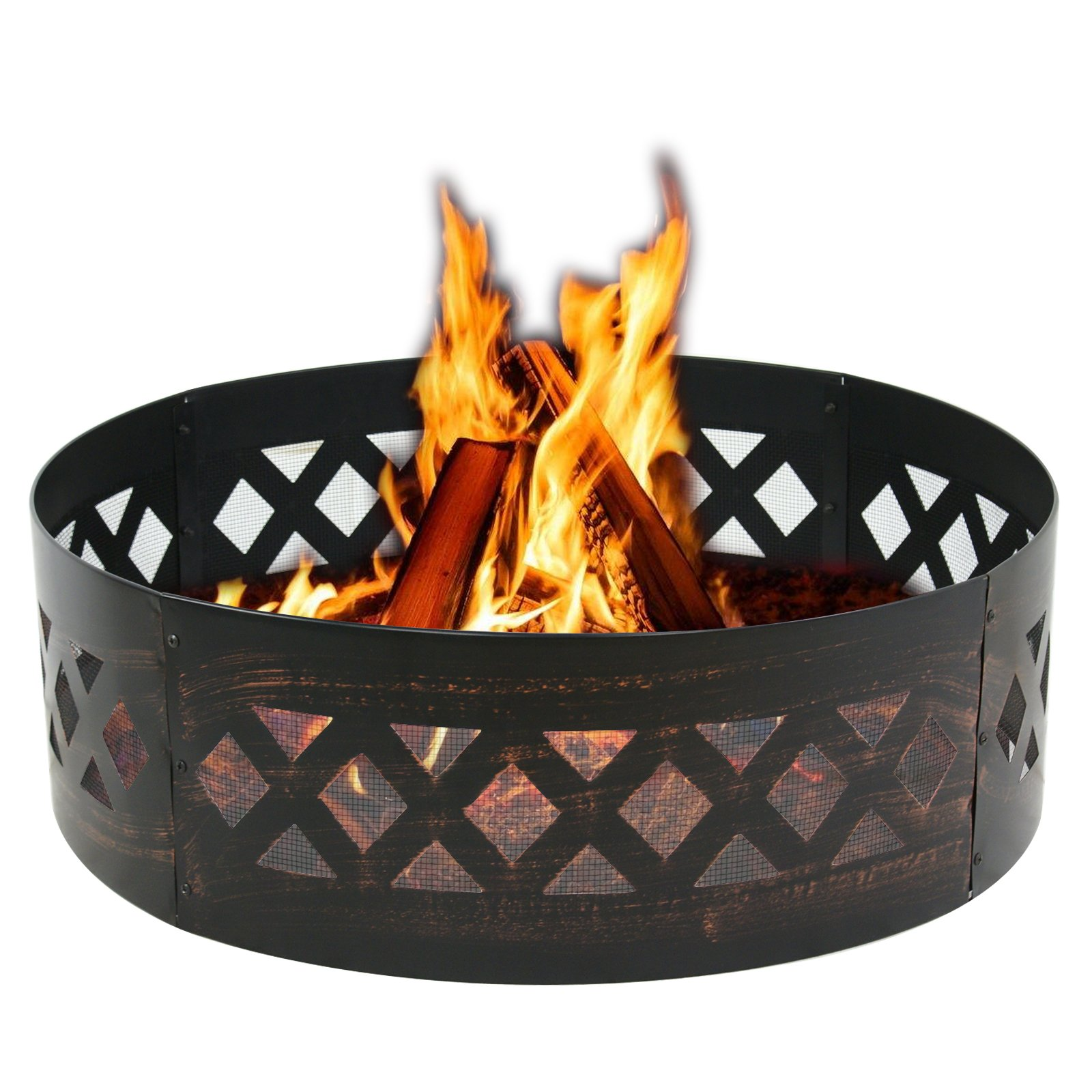 LEMY 37'' Heavy Duty Fire Ring Wilderness Fire Pit Ring Campfire Ring Steel Patio Camping Outdoors by LEMY (Image #1)