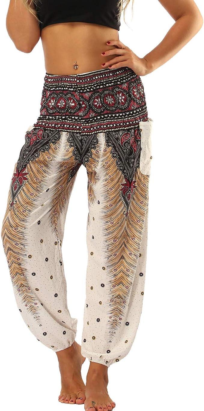 wodceeke Summer Womens Loose Yoga Pants Bohemian Feather Harem Yoga Travel Lounge Festival Beach Pants