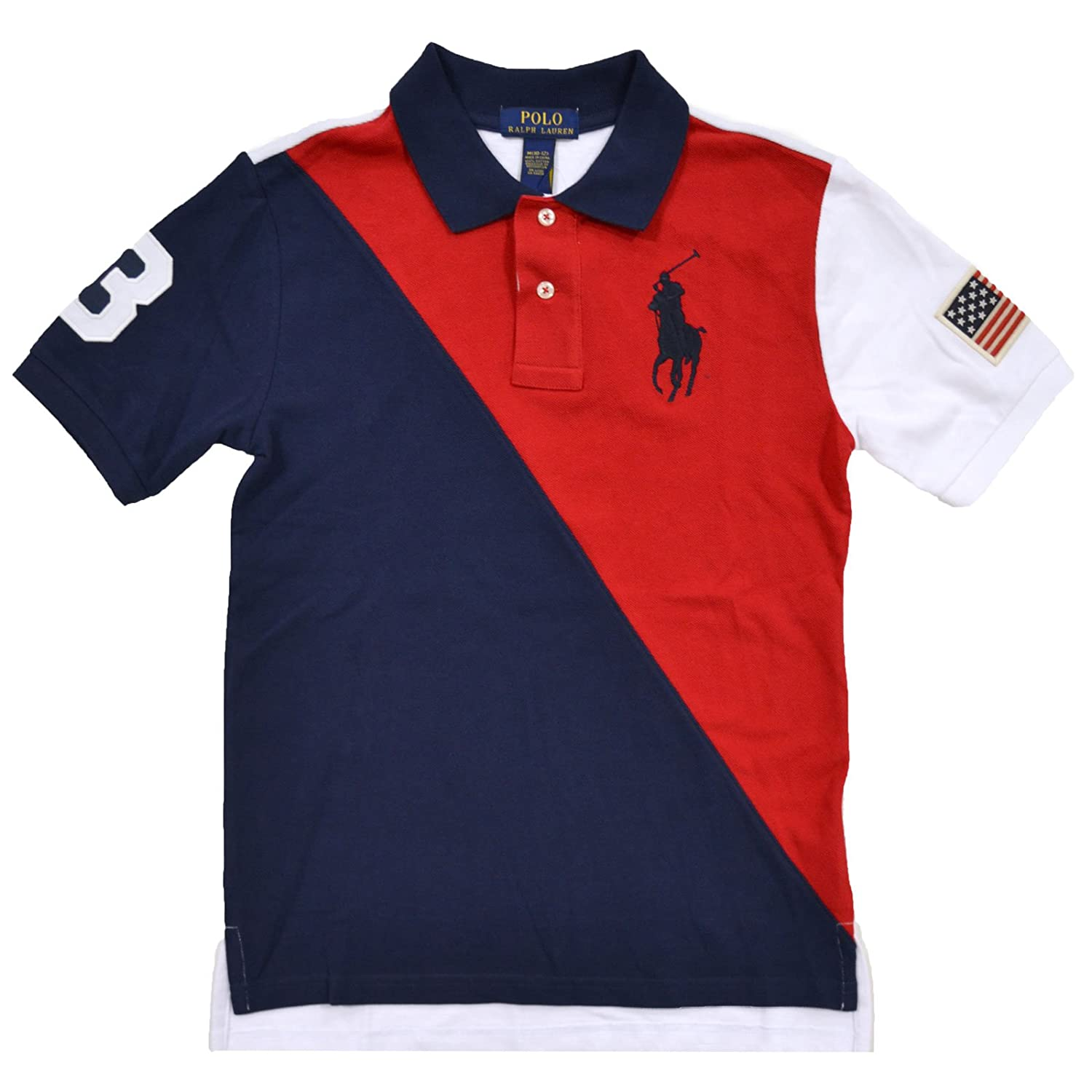 Polo Ralph Lauren Boys Big Pony USA Flag Polo