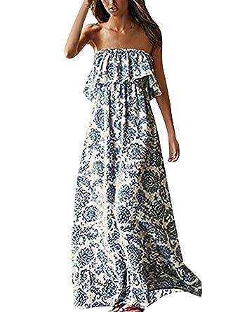 Robe Longue Femme d été Plage Sexy Sans Bretelles Maxi Bohême Style Mode  Chic Robe Bustier 459489e835e1