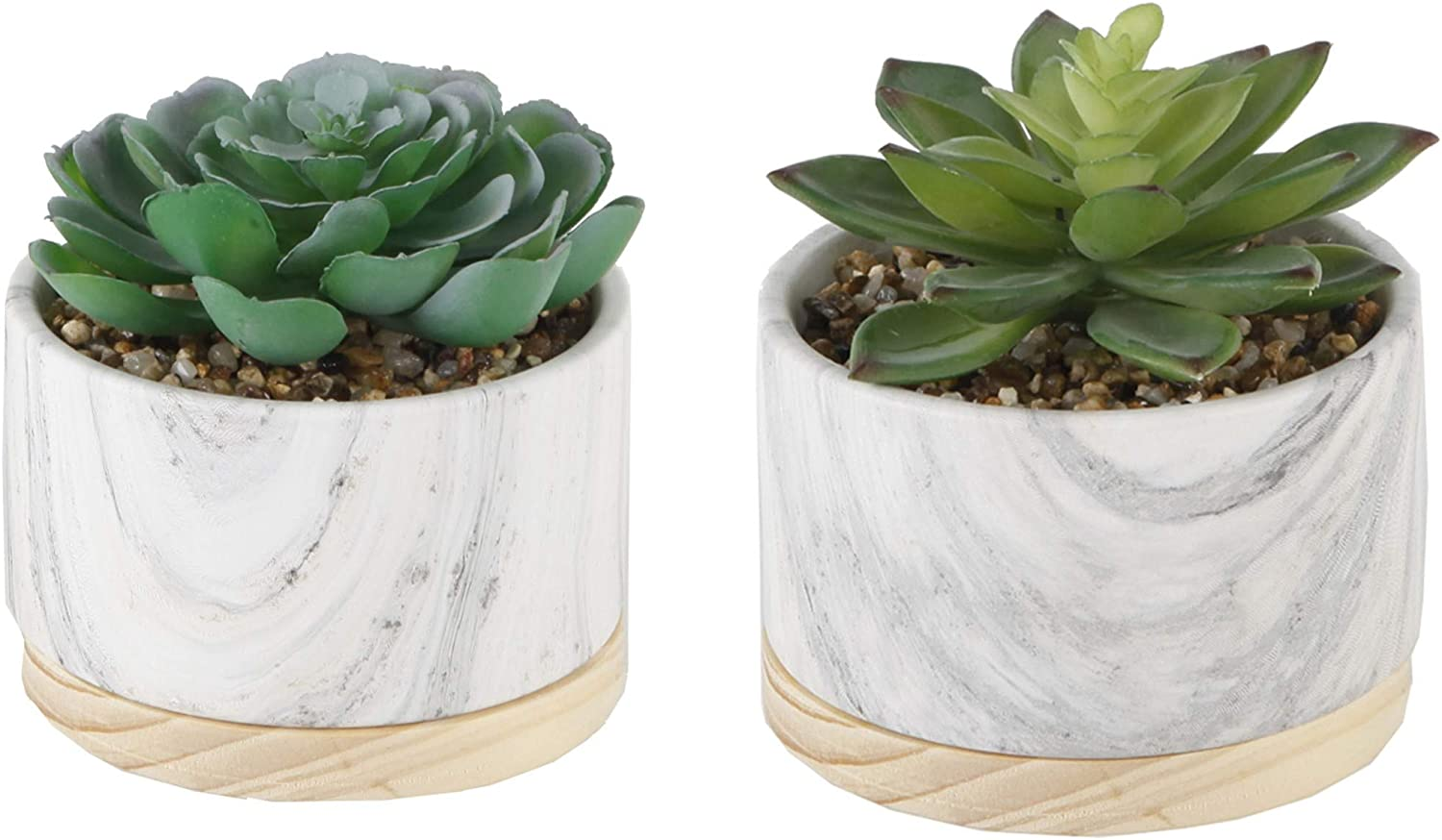 Flora Bunda Artificial Plant Artificial Succulent In 4 Inch Marble Ceramic Planter Wood Base Mid Century Pot Marble Set Of 2 Home Kitchen