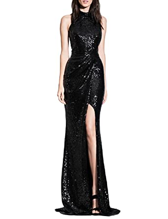 378df54c200f YSMei Women s Long Sequins Halter Evening Prom Dress Backless Cocktail  Party Gowns Black 2