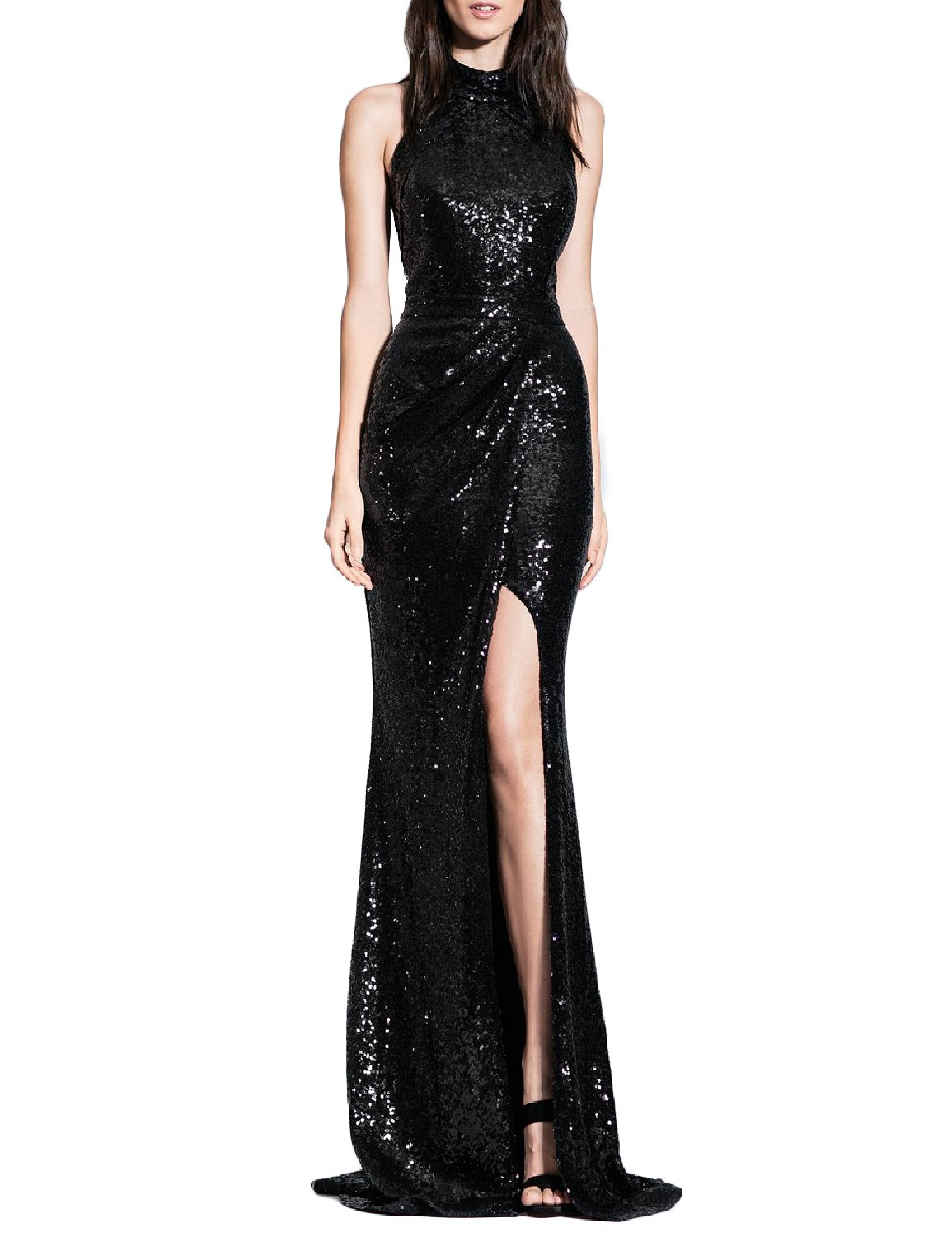 YSMei Women's Long Sequins Halter Evening Prom Dress Backless Cocktail Party Gowns Black 8