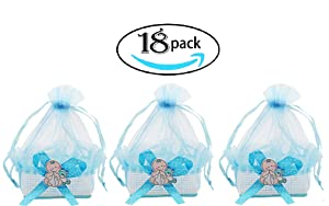 Noex Direct Baby Shower Favors Mini Candy Bottle Candy Bags Gift Box Cute Party Suppliers Decoration Basket for Baby Boys Girls Birthday Wedding, Blue, 18Pcs