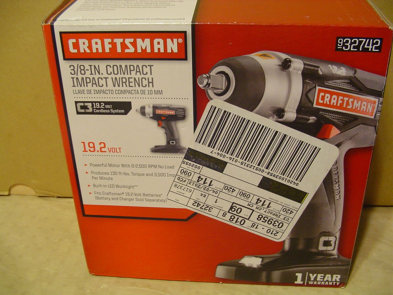 Bare Tool Only - No Battery - No Charger - Bulk Pack Craftsman 19.2v C3 3//8 Impact Wrench