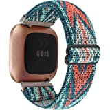 Adjustable Elastic Watch Band Compatible with Fitbit Versa/Versa 2/Versa Lite Special Edition for Women Men Nylon…