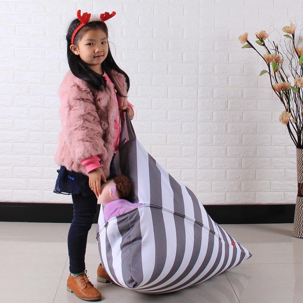 DDLBiz Kids Stuffed Animal Plush Toy Storage Bean Bag Chair Soft Pouch Stripe Fabric Chair (E) by DDLBiz (Image #4)