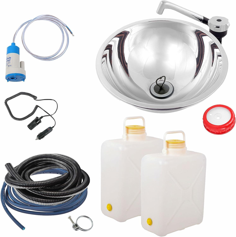 Kit de sistema de agua para cocina de camping, acero inoxidable, compuesto por fregadero de 260 mm aproximadamente, desagüe, grifo de 12 V, manguera ...