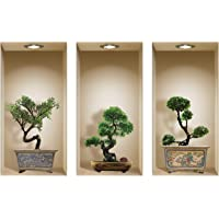 The Nisha Art Magic 3D Vinyl Removable Wall Sticker Decals DIY, Set of 3, Bonsai 922N-AU