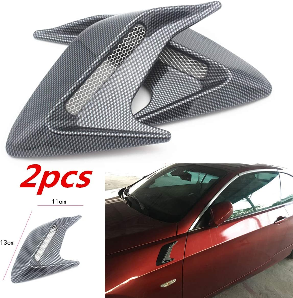 Gray HERCHR 2PCS Carbon Fiber Plastic Car Hood Air Flow Fender Side Vent Decoration Sticker