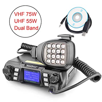 Mobile Ham Radio Transceiver VHF 75W UHF 55W Mobile Radio Dual Band Quad  Standby Vehicle Transceiver Cross Band Station Repeater with Programming