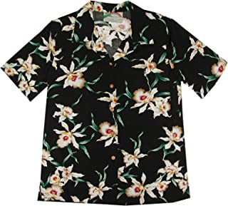 product image for Paradise Found Women's Orchid Corsage Palm Aloha Shirt, Black, L