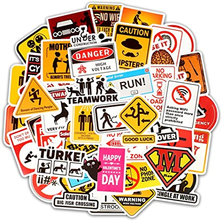 50PCS Warning Stickers Danger Waterproof Decal Sticker to DIY Laptop asdfe Nice