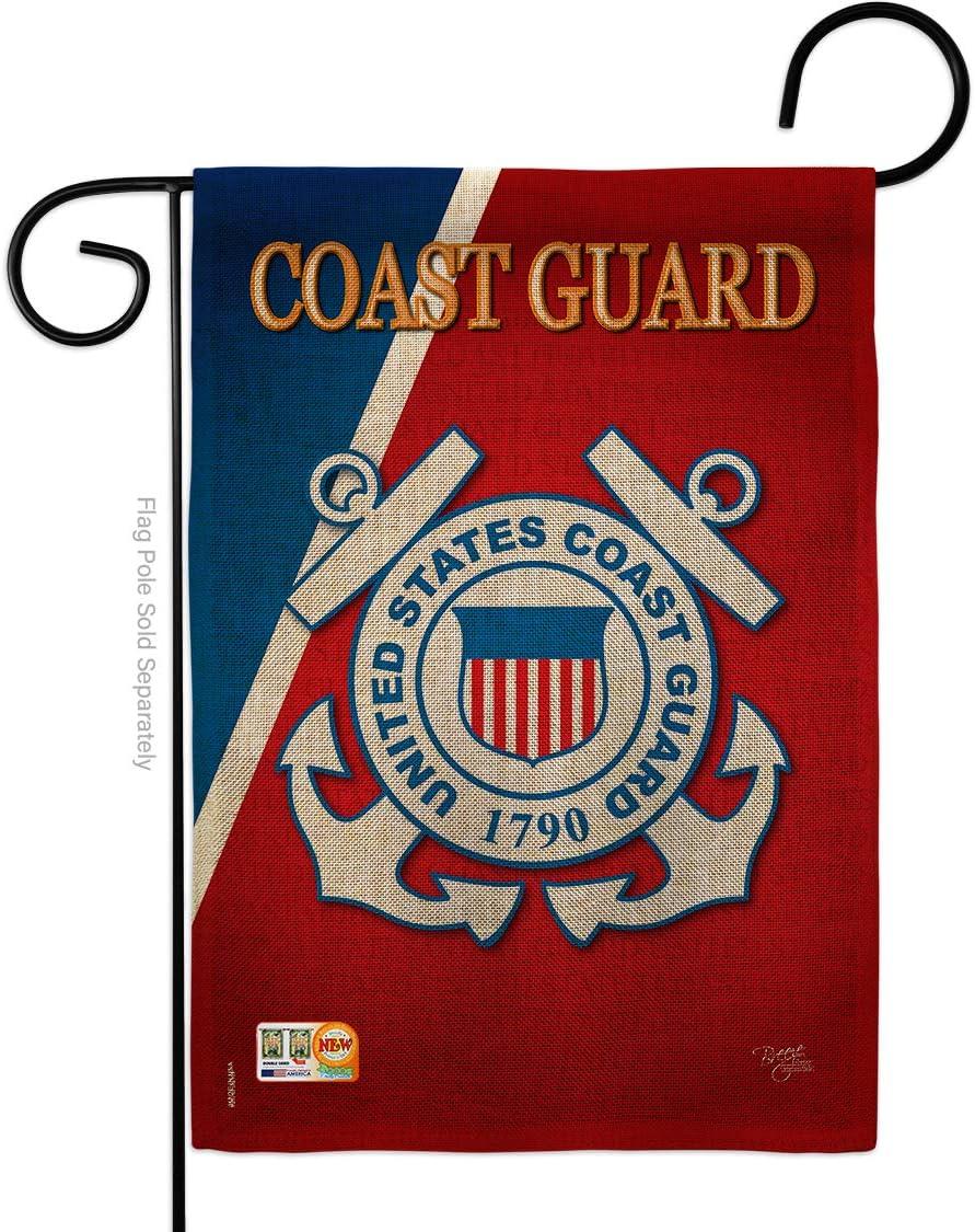 "Breeze Decor G158056-DB Coast Guard Burlap Americana Military Veteran Decorative Gift Vertical 13"" x 18.5"" Double Sided Garden Flag Made in USA"