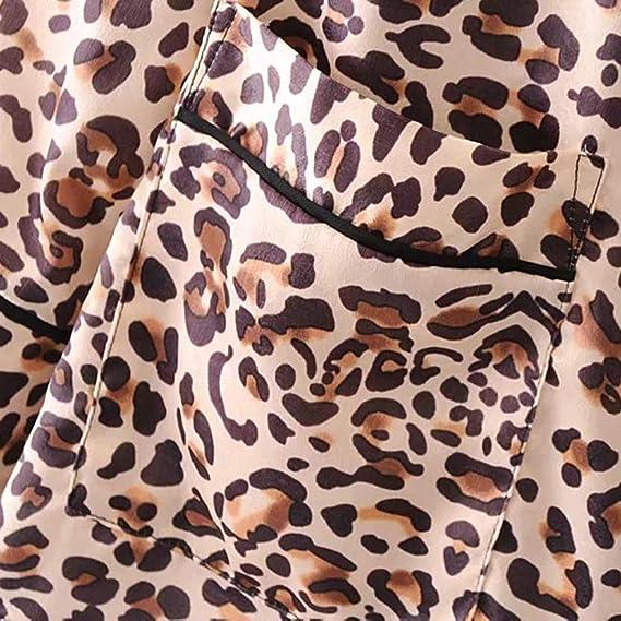 Amazon.com: Gessppo Women Leopard Coat Lapel Print Side Waist Bow Jacket Frenulum Shirt Blouse: Clothing