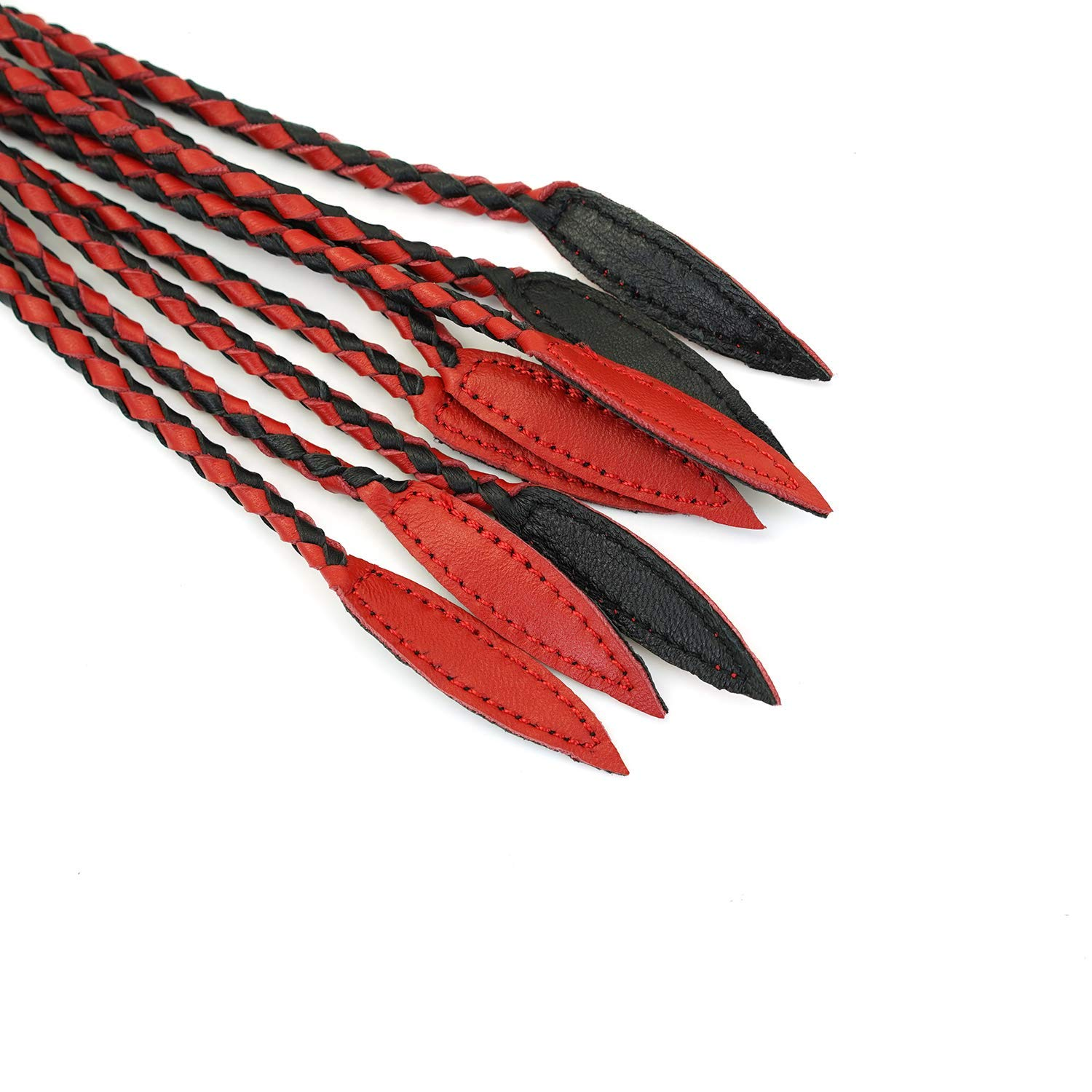 Black/&Red Premium Quality Leather and Suede Braided Flogger Riding Horse Whip with Braided Handle Wrapped in Leather and Suede Braided Handle Tails
