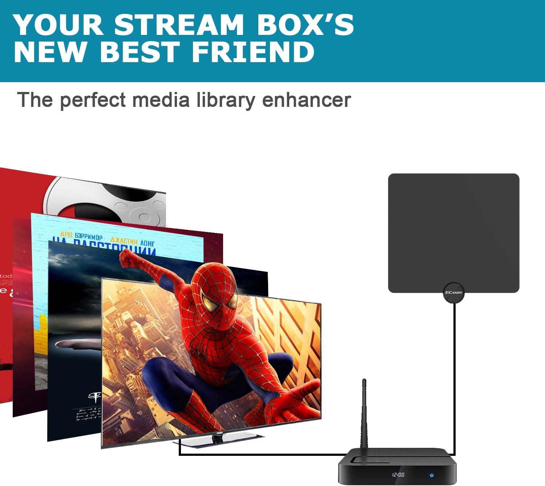 Ecandy Antena de TV digital de TDT y HD para uso interior con mas de 80km de distancia, amplificador de señal USB para reforzar las frecuencias UHF VHF y cable coaxial de