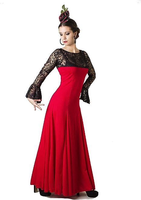 ANUKA Traje Profesional de Danza Flamenco para Mujer. Vestido con Manga y Escote a la Caja en blonda elástica. Fabricado en España (Rojo/Negro, XL): Amazon.es: Deportes y aire libre