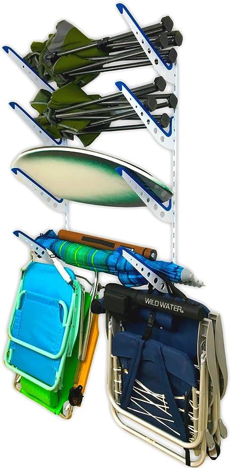 Amazon Com Storeyourboard Beach Chair And Umbrella Wall Storage Rack Metal Adjustable 4 Level Beach Gear Hanger Garage And Home Organizer Home Kitchen