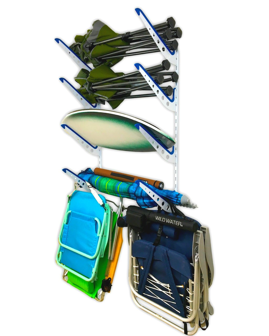 Beach Chair and Umbrella Wall Storage Rack | Metal Adjustable 4 Level Beach Gear Hanger