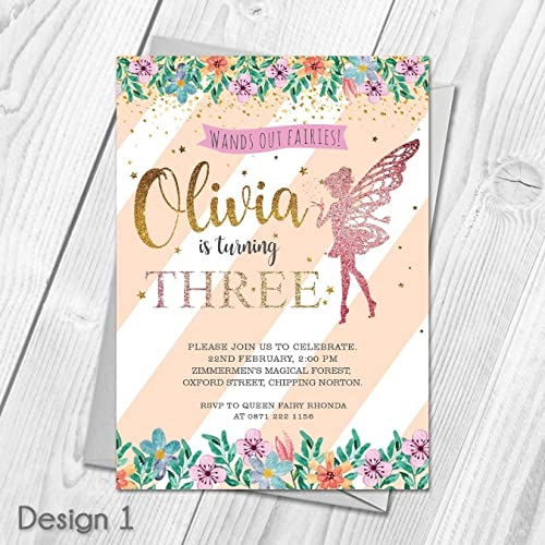 Personalised kids glitter fairy birthday party invitations thank personalised kids glitter fairy birthday party invitations thank you cards joint or single filmwisefo
