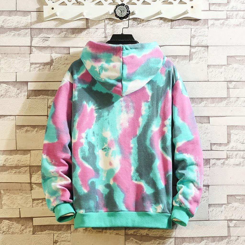 JAMZER Hot Sale Newest Trend Tie Dye Sweatshirt Hood Mens Autumn Causal Colorful Print Pullover Pop Cool Garment