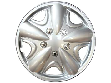 """XtremeAuto Tapacubos de 14"""" (35,5 cm) plateado para rueda, incluye"""