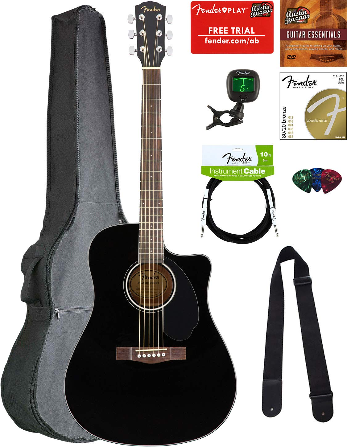 Fender CD-60SCE Dreadnought Acoustic-Electric Guitar - Black Bundle with Gig Bag, Tuner, Strap, Strings, Picks, Austin Bazaar Instructional DVD, and Polishing Cloth by Fender