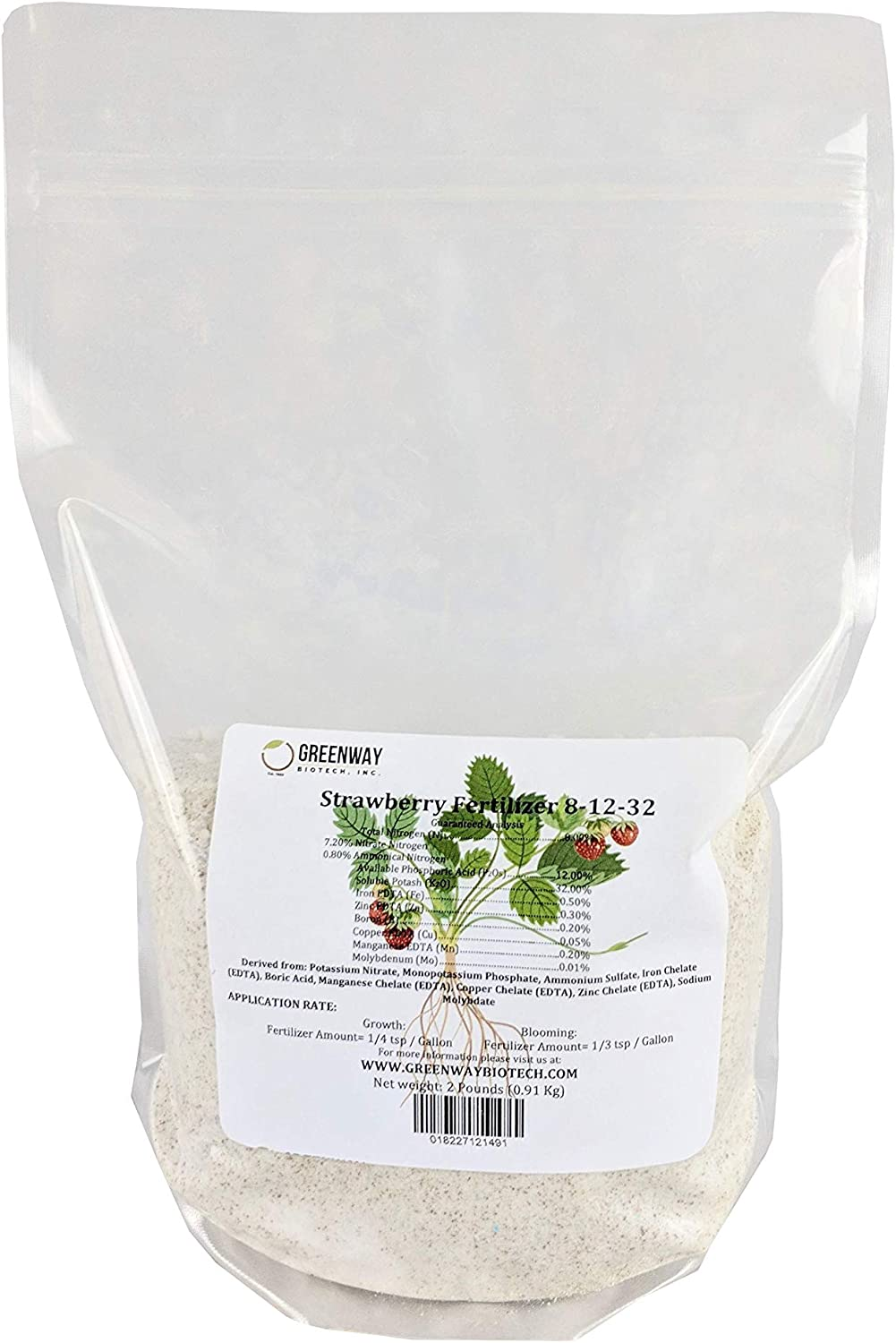 Strawberry Fertilizer 8-12-32 Powder 100% Water Soluble Plus Micro Nutrients and Trace Minerals Greenway Biotech Brand 2 Pounds (Makes 400 Gallons)