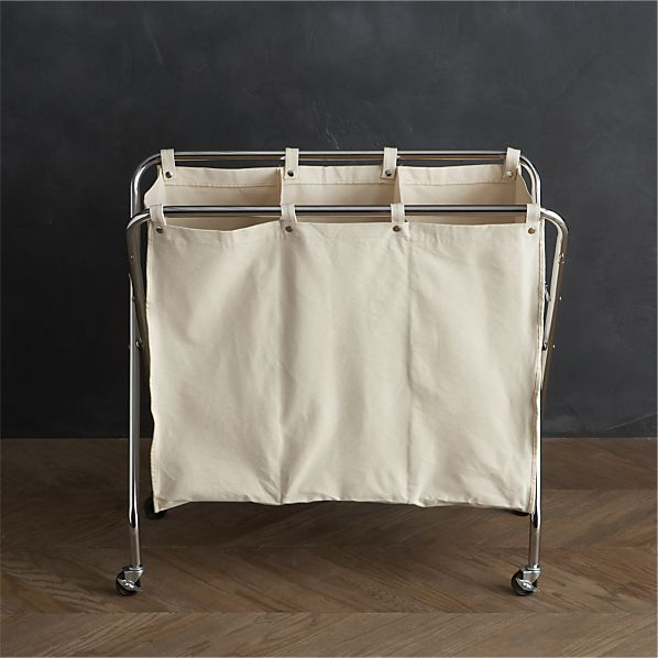 Three-Section Canvas Sorter in Laundry | Crate and Barrel