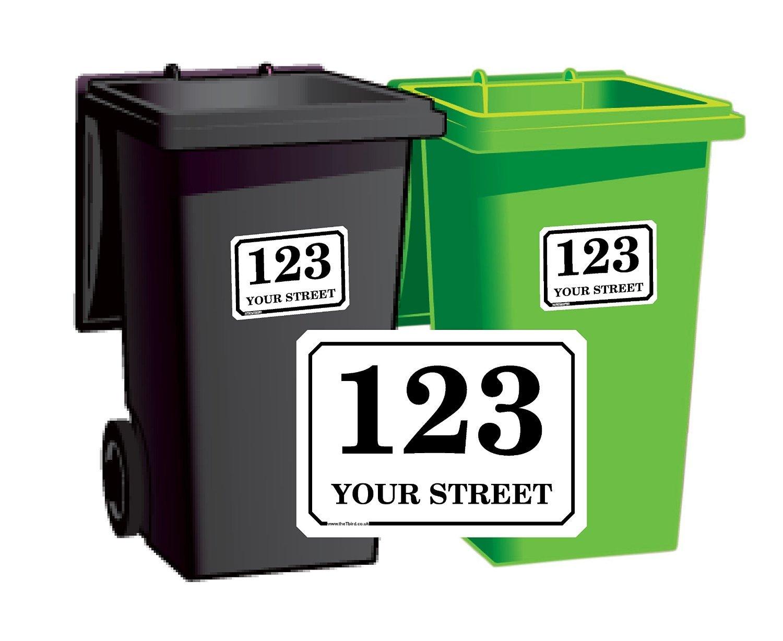 The T bird, confezione da 4 adesivi personalizzabili con nome della strada e numero civico, per cassonetti, formato A5, in vinile